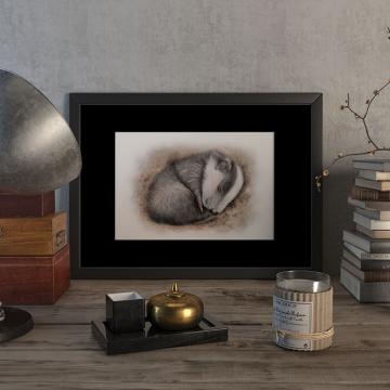 Sleeping cub of a European badger – original artwork