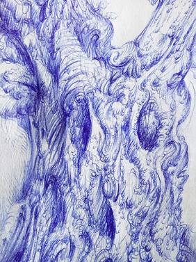 Drawing of an olive tree by Aga Grandowicz, photo 2, closeup