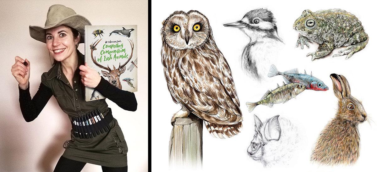 Aga Grandowicz and sample wildlife drawings.